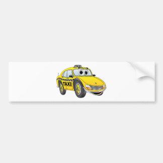 Yellow 4 Door Taxi Cab Cartoon Bumper Sticker