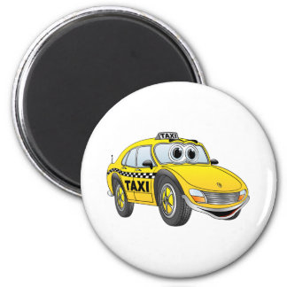 Yellow 4 Door Taxi Cab Cartoon Magnet