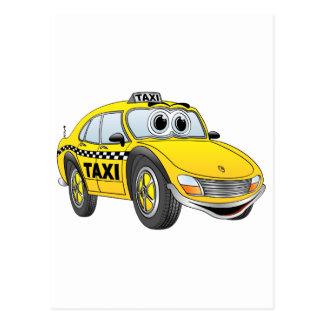 Yellow 4 Door Taxi Cab Cartoon Postcard