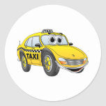 Yellow 4 Door Taxi Cab Cartoon Sticker