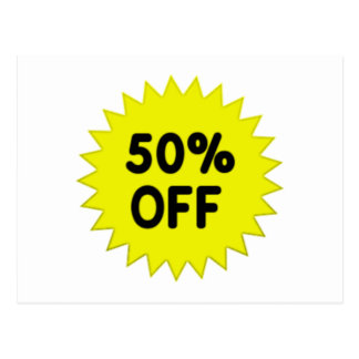 Yellow 50 Percent Off Post Cards