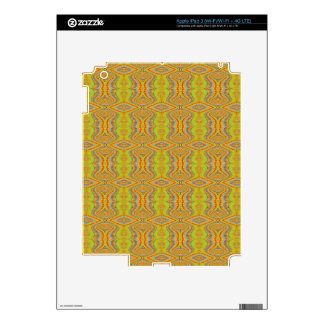 Yellow 60's Retro Fractal Pattern Skins For iPad 3