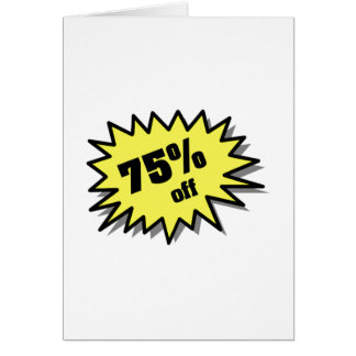 Yellow 75 Percent Off Card