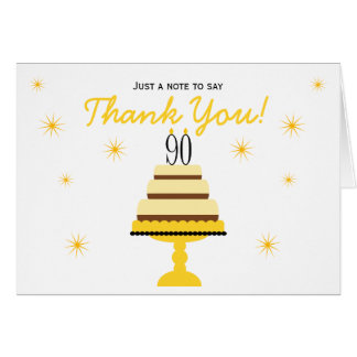 Yellow 90th Birthday Cake Thank You Note Card