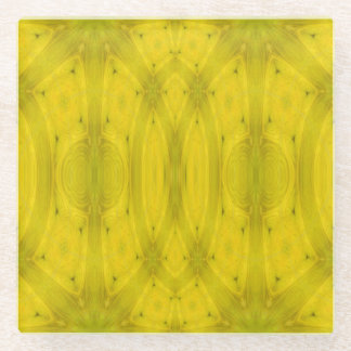 Yellow Abstract cool trendy Wood Glass Coaster