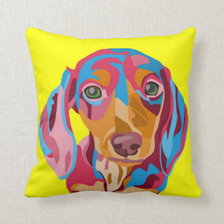 Yellow Abstract Dachshund Throw Pillow