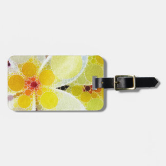 Yellow Abstract Flowers Bag Tag