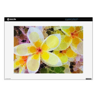 Yellow Abstract Flowers Laptop Skins