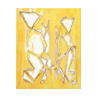 Yellow Abstract Line Art Couple Painting by MCB Gallery Wrap Canvas