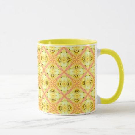 Yellow Abstract Modern Floral Lattice Mug