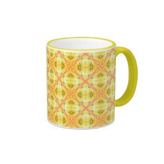 Yellow Abstract Modern Floral Lattice Ringer Mug