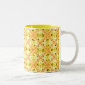 Yellow Abstract Modern Floral Lattice Two-Tone Coffee Mug