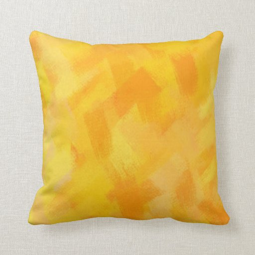 Yellow Abstract Painting | Dynamic Colors 43 Throw Pillows