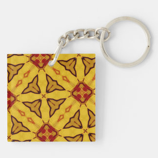 Yellow abstract pattern Double-Sided square acrylic keychain