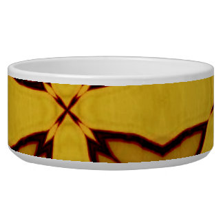 Yellow abstract pattern dog water bowl