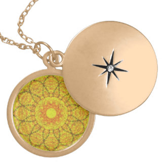 Yellow abstract pattern round locket necklace