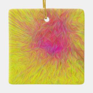 Yellow Abstract Pink Rose Sunburst Ceramic Ornament