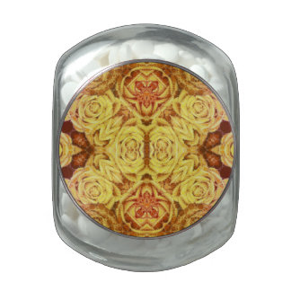 Yellow Abstract Roses Jelly Belly Candy Jars