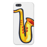 Yellow abstract sax graphic facing right saxophone iPhone 5 case