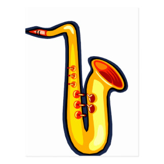 Yellow abstract sax graphic facing right saxophone postcard