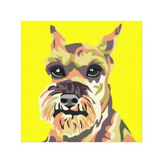Yellow Abstract Schnauzer Canvas Print