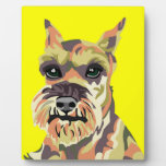 Yellow Abstract Schnauzer Display Plaques