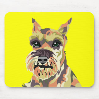 Yellow Abstract Schnauzer Mouse Pad