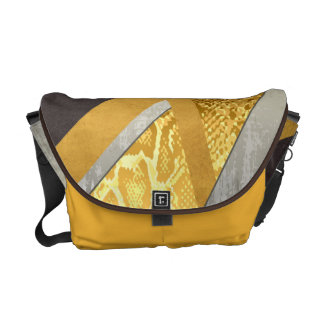 Yellow Abstract Snakeskin Print Courier Bag