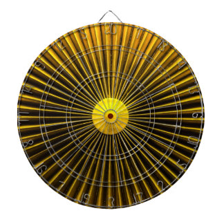 Yellow Abstract Sun Rays Amplifier Metal Cage Dart Board