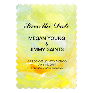 yellow abstract watercolor save the date 5x7 paper invitation card