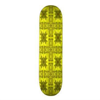 Yellow abstract wood cross skateboard deck