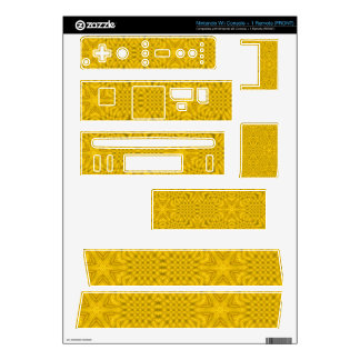 Yellow abstract wood decals for nintendo wii