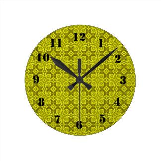 Yellow abstract wood pattern round clocks