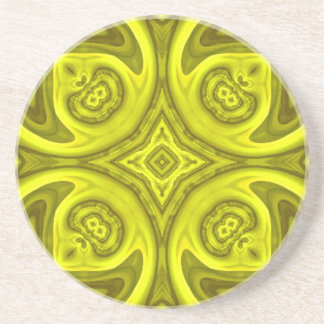 Yellow abstract wood pattern drink coaster