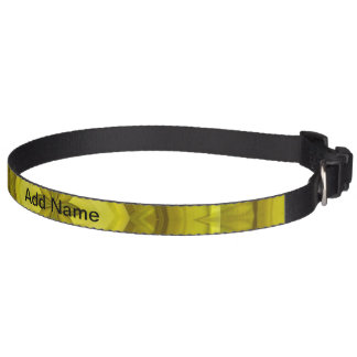 Yellow Abstract Wood Pattern Pet Collar