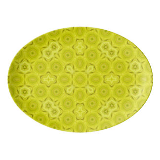 Yellow Abstract Wood Pattern Porcelain Serving Platter
