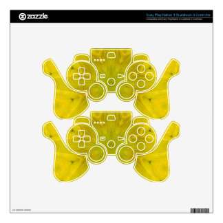 Yellow abstract wood pattern PS3 controller decals