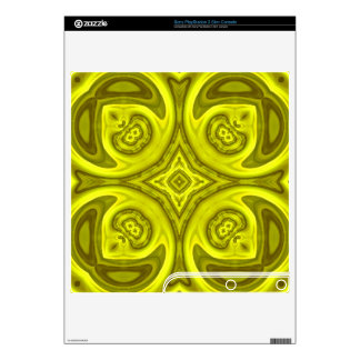 Yellow abstract wood pattern PS3 slim console skin