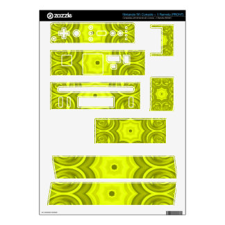 Yellow abstract wood pattern decals for nintendo wii