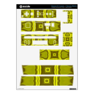 Yellow abstract wood pattern skins for nintendo wii