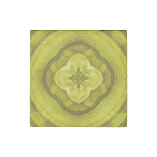 Yellow Abstract Wood Pattern Stone Magnet