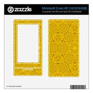Yellow abstract wood decals for the zune HD