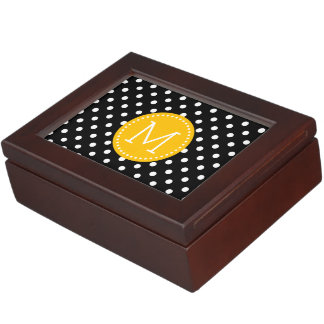Yellow Accents, Black & White Polka Dots Pattern Keepsake Box