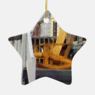 Yellow Adirondack Rocking Chairs Double-Sided Star Ceramic Christmas Ornament
