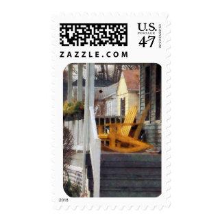 Yellow Adirondack Rocking Chairs Postage Stamp