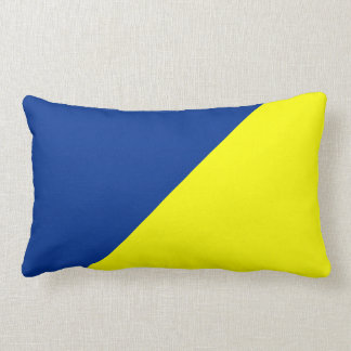 Yellow & Air Force blue Solid Color Background Lumbar Pillow
