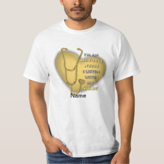 Yellow Air Force Nurse Heart value t-shirt