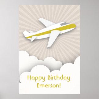 Yellow Airplane Birthday Poster