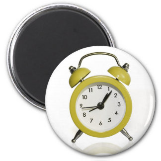 Yellow alarm clock 2 inch round magnet