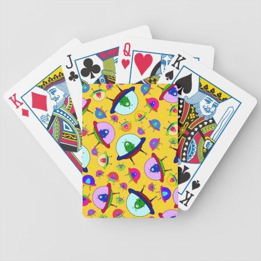 Yellow alien spaceship pattern bicycle card decks